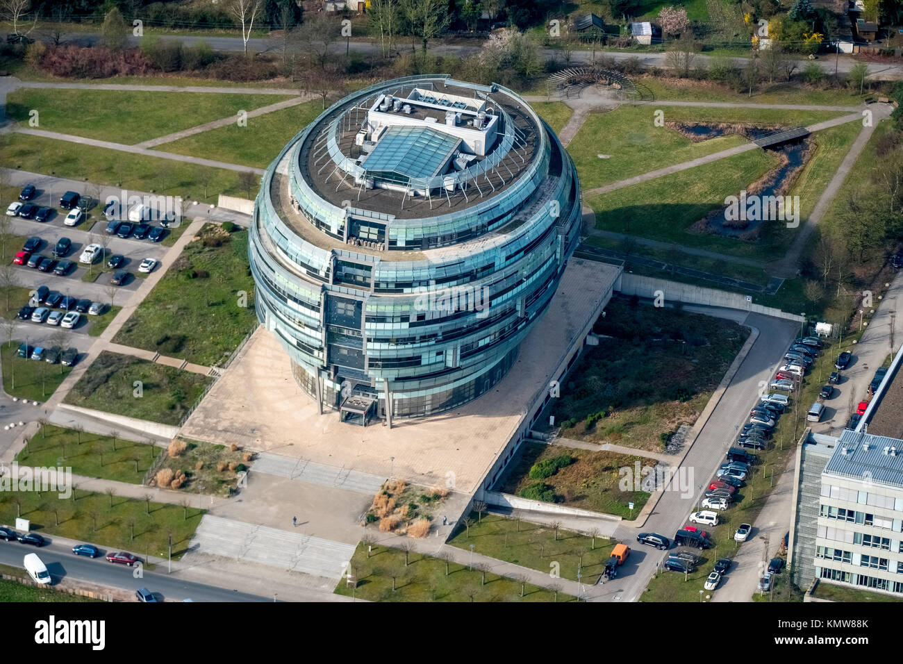 Office tower Heise headquarters in Hanover in spherical form, Heise Medien GmbH & Co KG, Heise Media Service GmbH Stock Photo