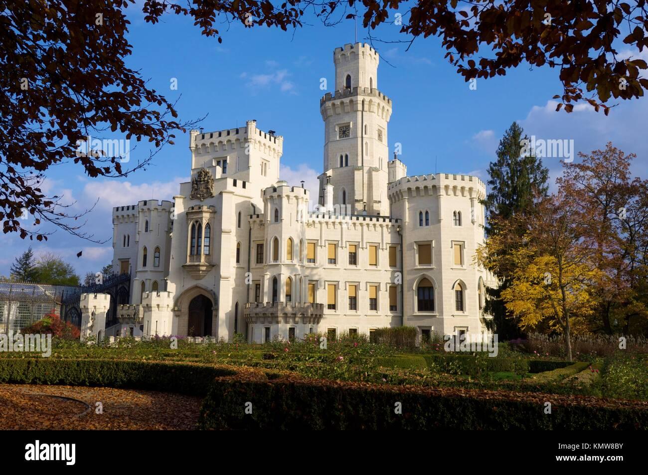castle neogothic Hluboka nad Vltavou, Czech Republic - Stock Image