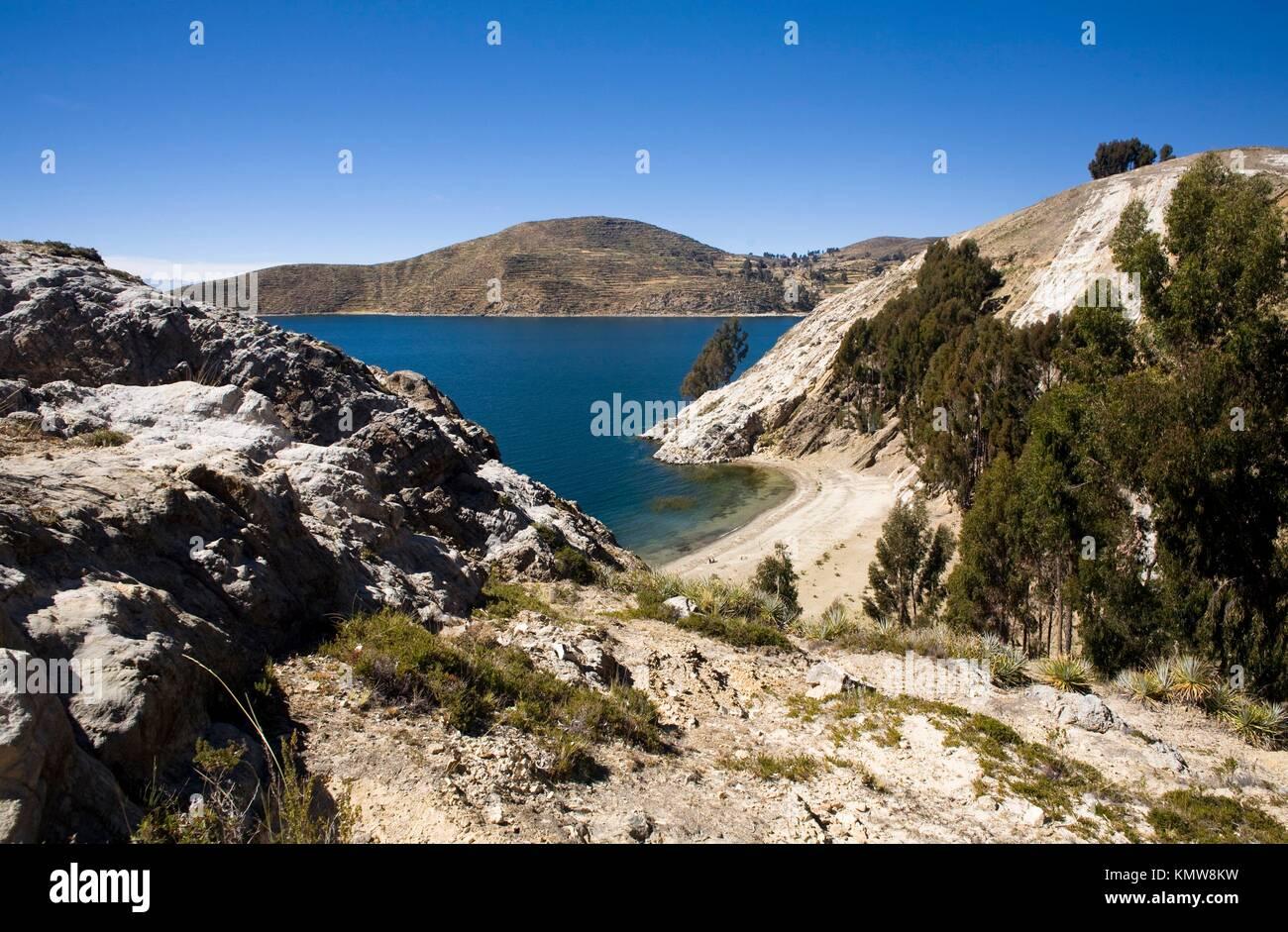 Isla del Sol, Lago Titicaca  Reserva Nacional del Titicaca  Bolivia - Stock Image
