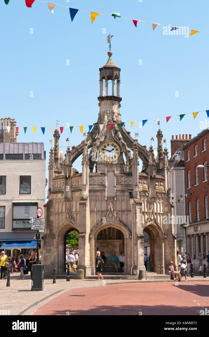 The buttercross in the centre of Chichester, West Sussex, England, dates from the 16th century and is a centrepiece - Stock Image