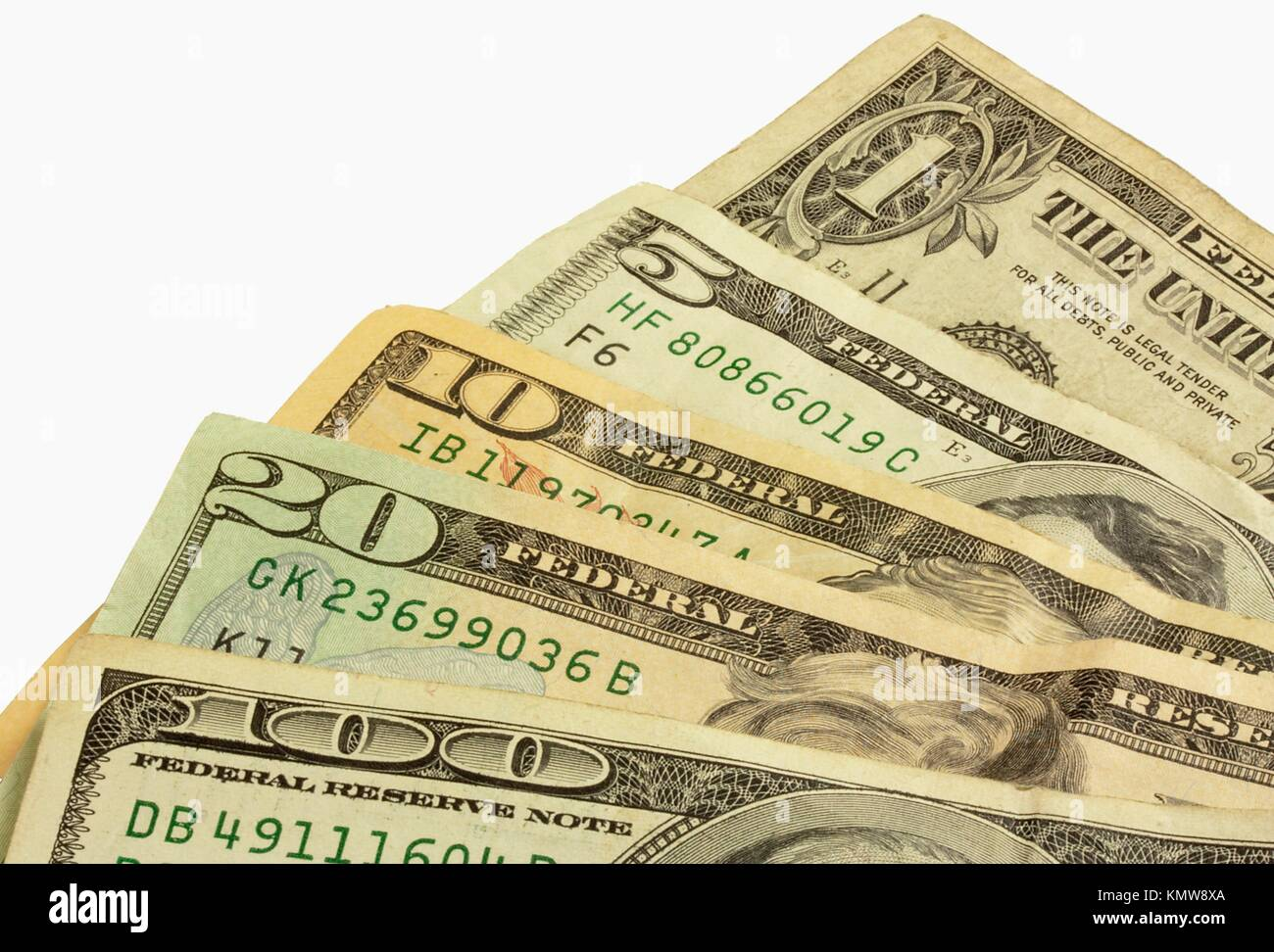 A fan of cash  A one, five, ten, twenty, and a hundred dollar bill - Stock Image