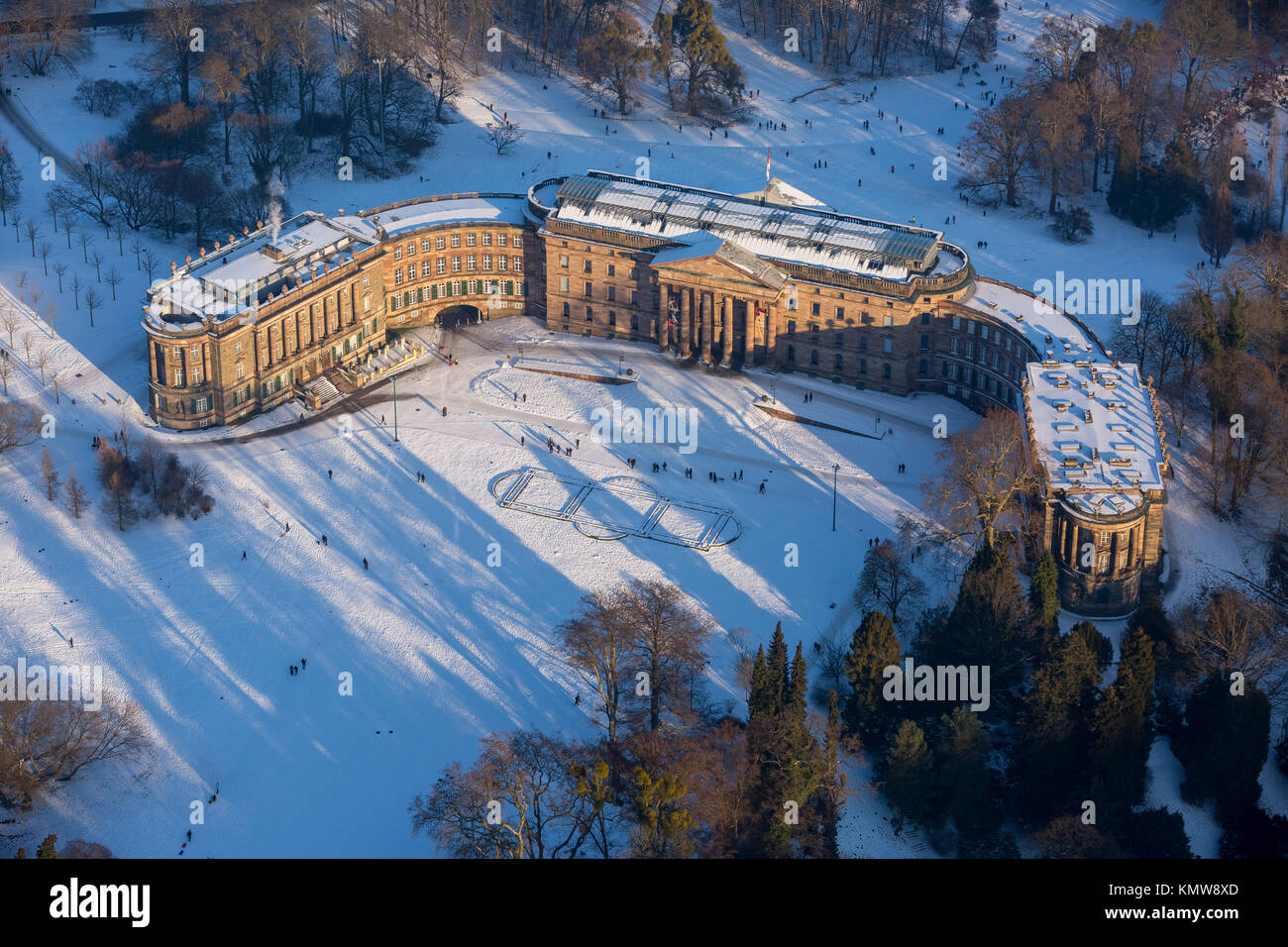 Wilhelmshöhe Palace is located in the mountain park Wilhelmshöhe Kassel, World Heritage Site, the style - Stock Image