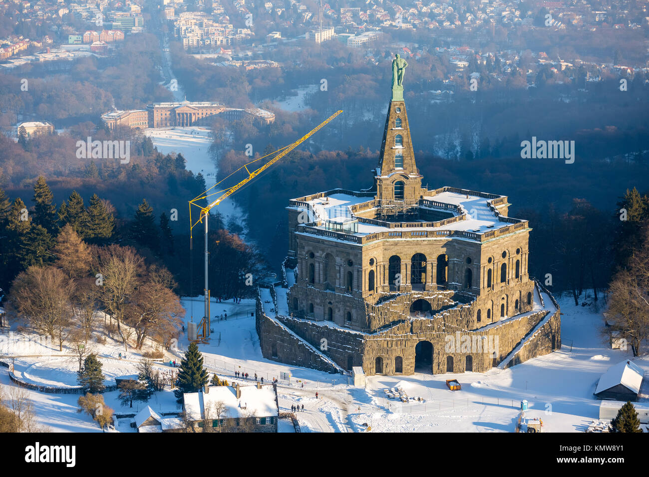 Hercules with the Hercules statue on the top of a pyramid, giant castle, Kassel, Bergpark Wilhelmshöhe, Hesse, - Stock Image