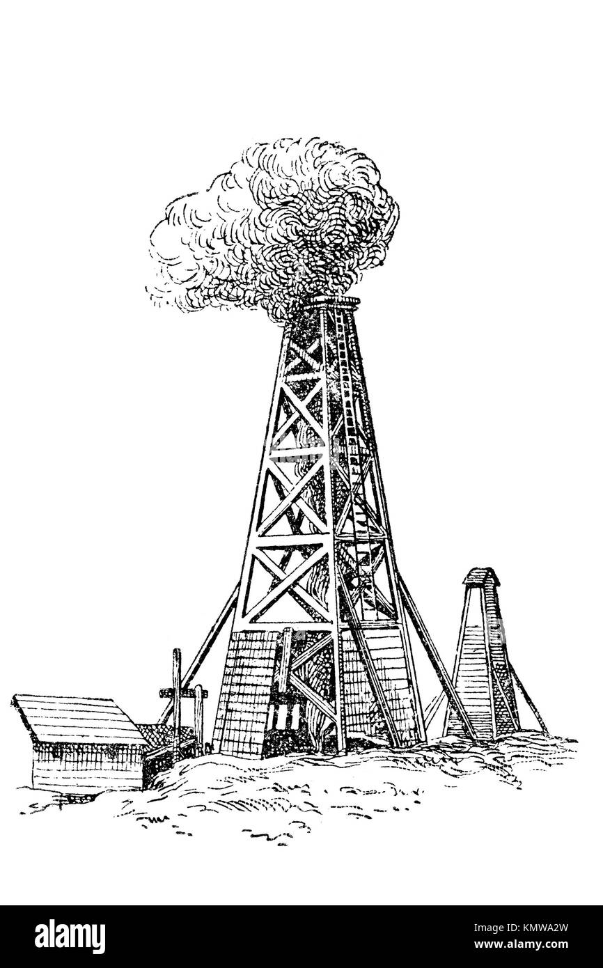 Oil well. Old Illustration 1900 - Stock Image