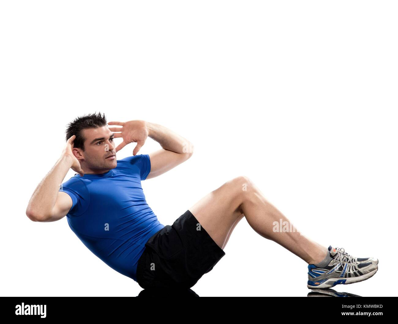 man on Abdominals rotation workout posture on white background  This exercise engages the oblique abdominal muscles - Stock Image