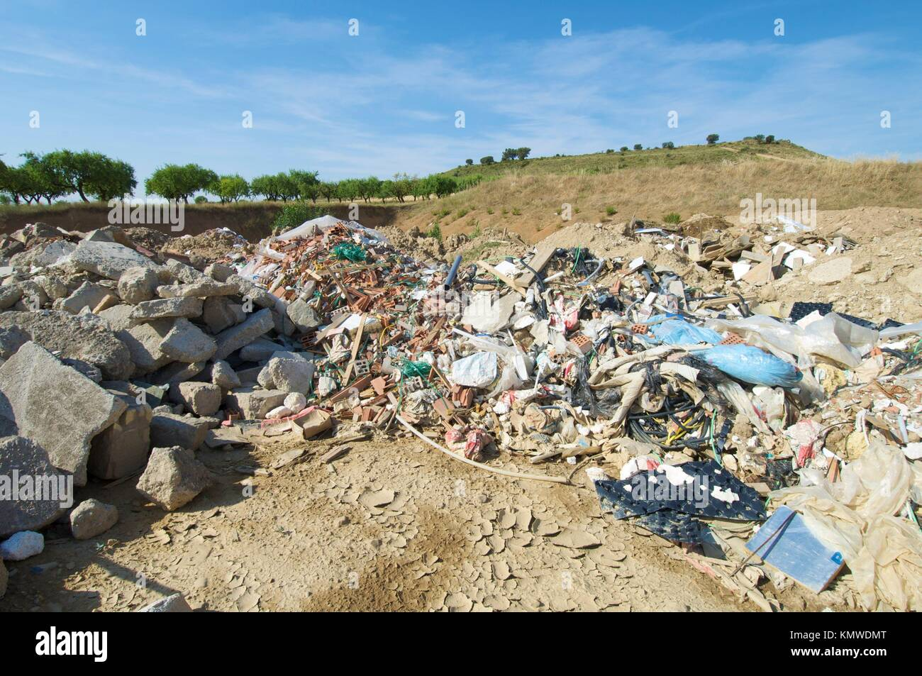 landfill in a nature place, Tierz, Huesca, Aragon, Spain - Stock Image