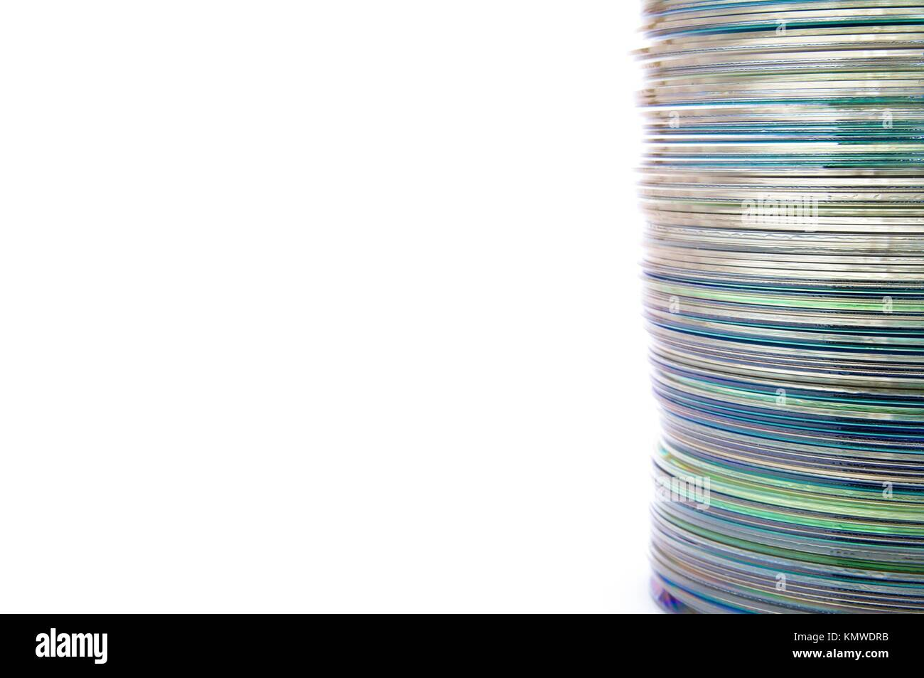 dvd group stacked on a white background - Stock Image