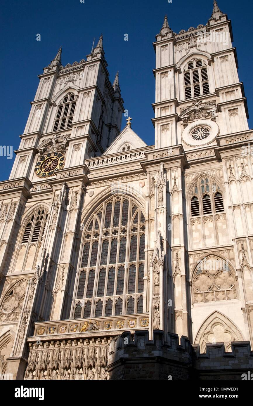 Main Facade of Westminster Abbey Church in London, England Stock Photo