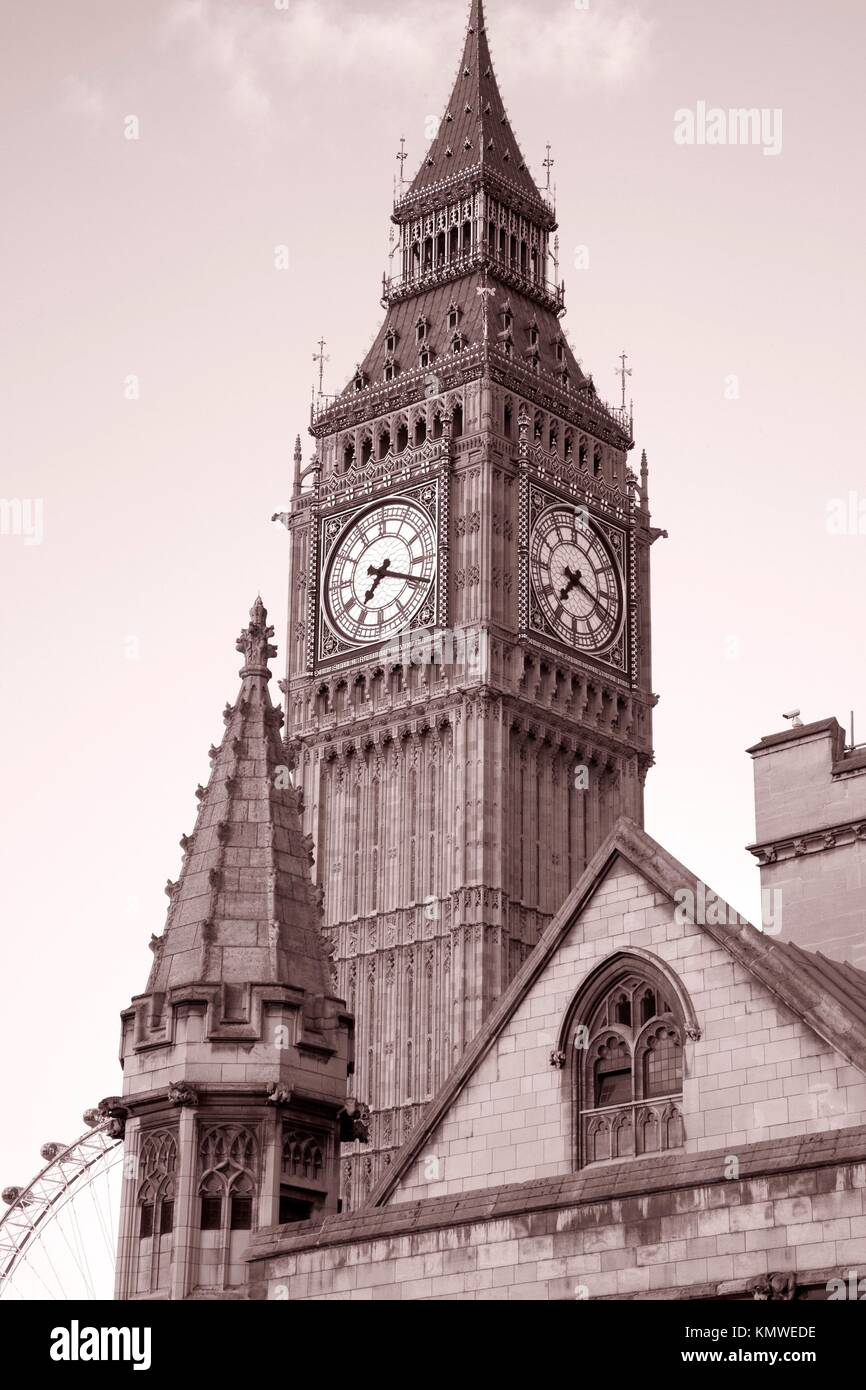 Big Ben in sepia black and white tone in London, England Stock Photo