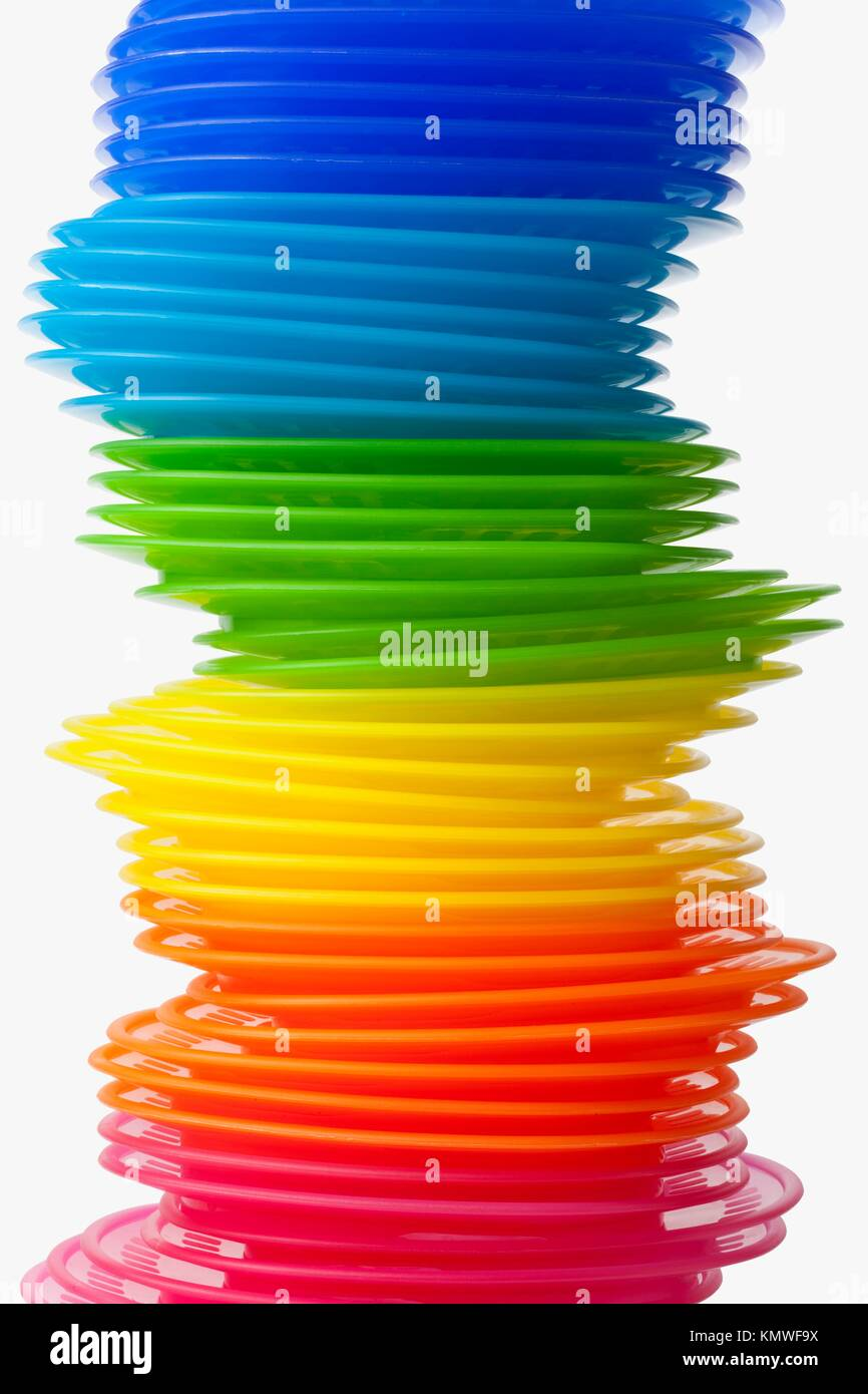 Rainbow colored plastic plates on white background  sc 1 st  Alamy & Rainbow colored plastic plates on white background Stock Photo ...