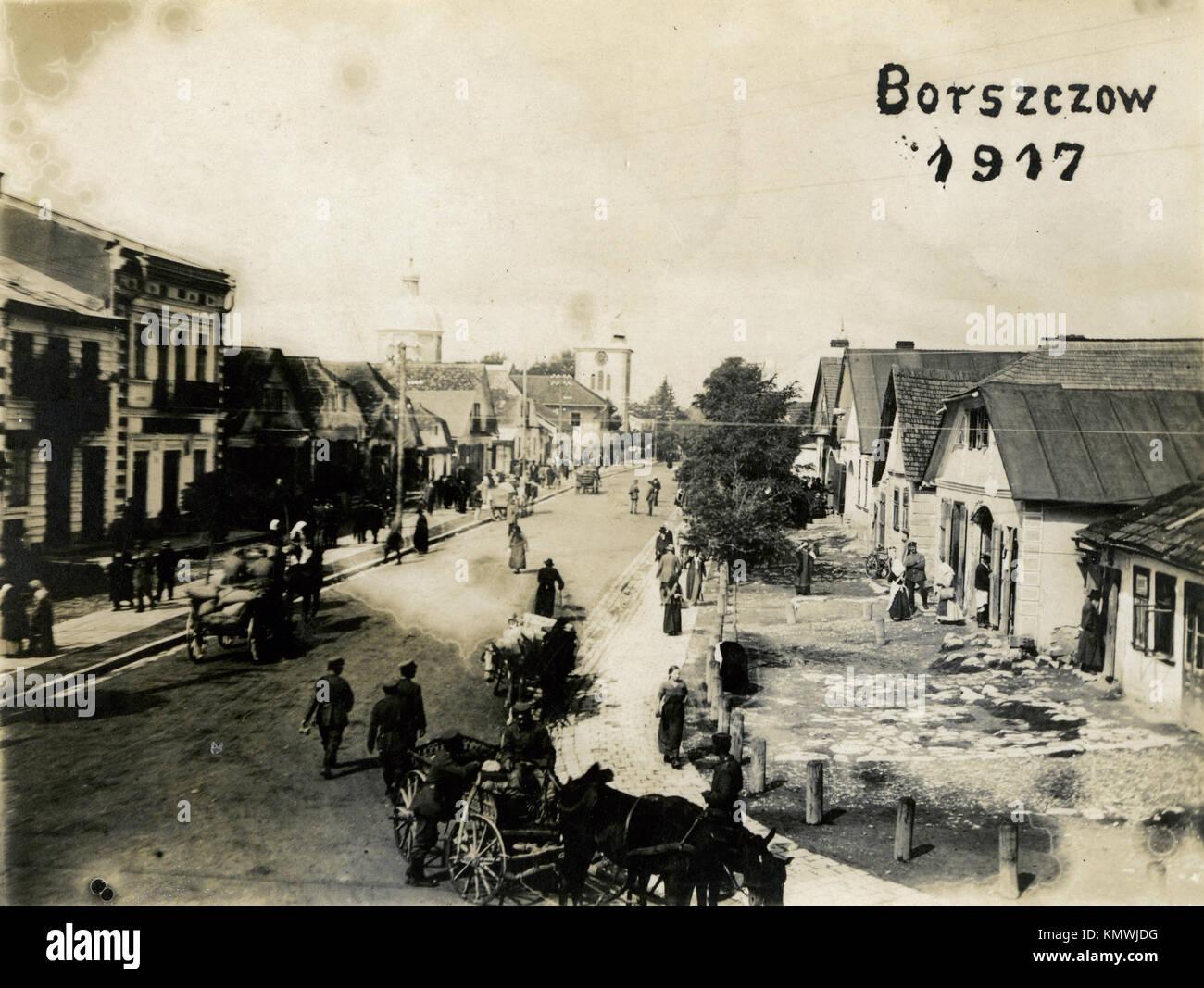 An antique postcard of Borszczow, Ukraine - Stock Image