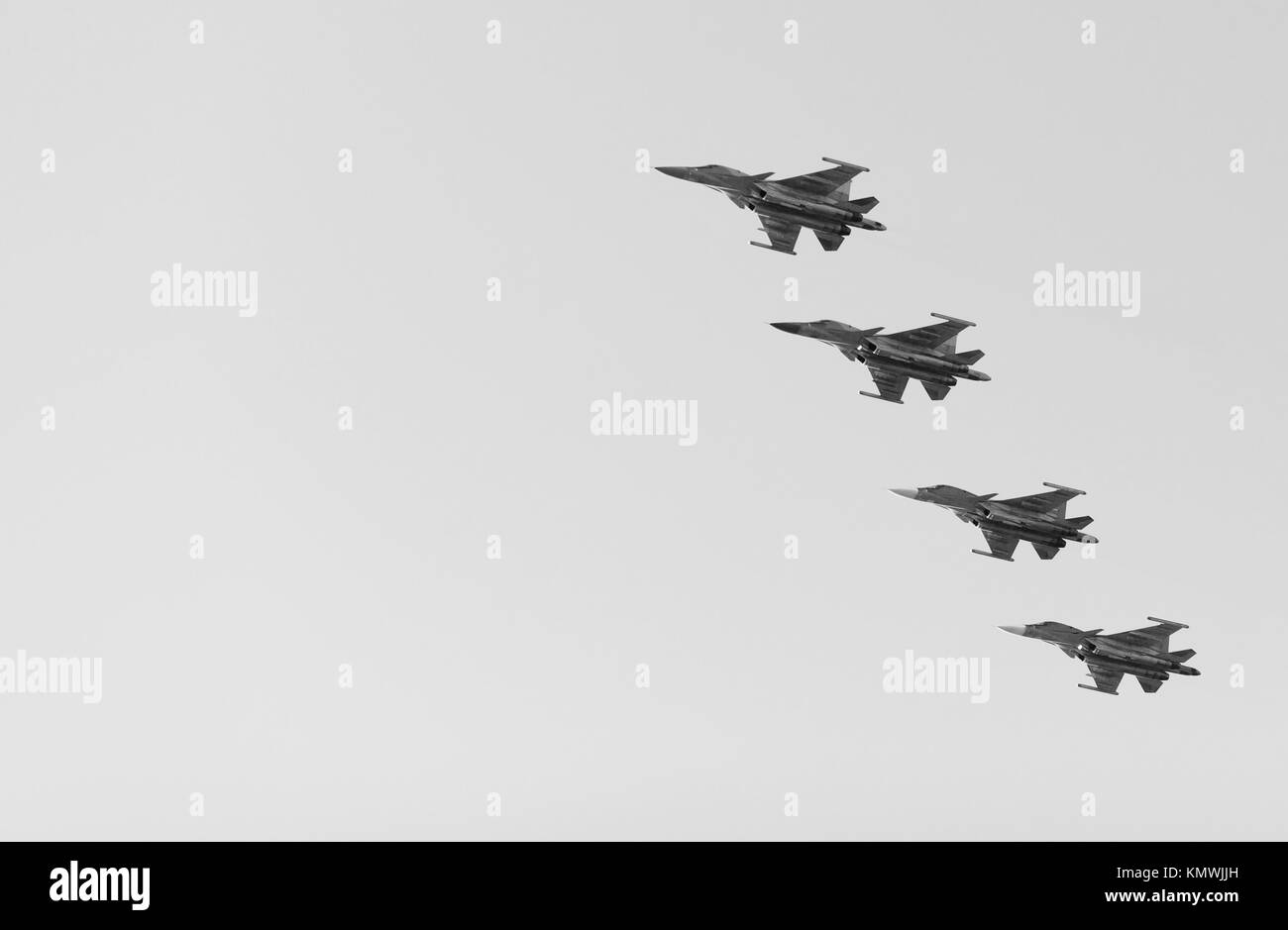 Russian fighters in the sky on the feast of victory day on 9 may. Saint-Petersburg, Russia - May 09, 2017. Stock Photo