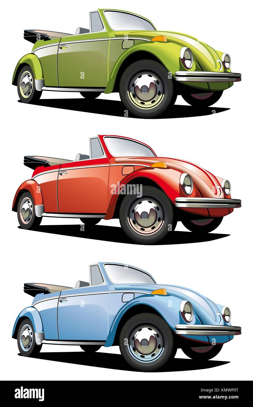 Vectorial icon set of old-fashioned cars VW Beetle isolated on white ...
