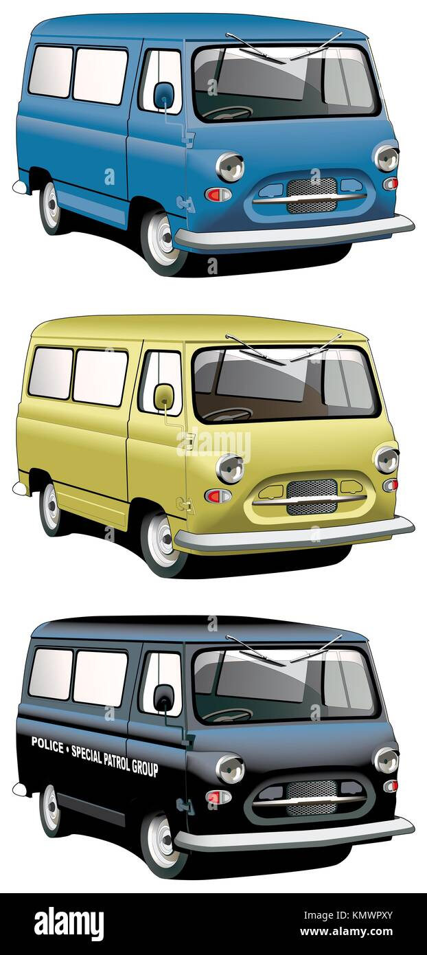 Vectorial icon set of English old-fashioned vans with right-side steering wheel isolated on white backgrounds  Every van is in separate layers  File Stock Photo