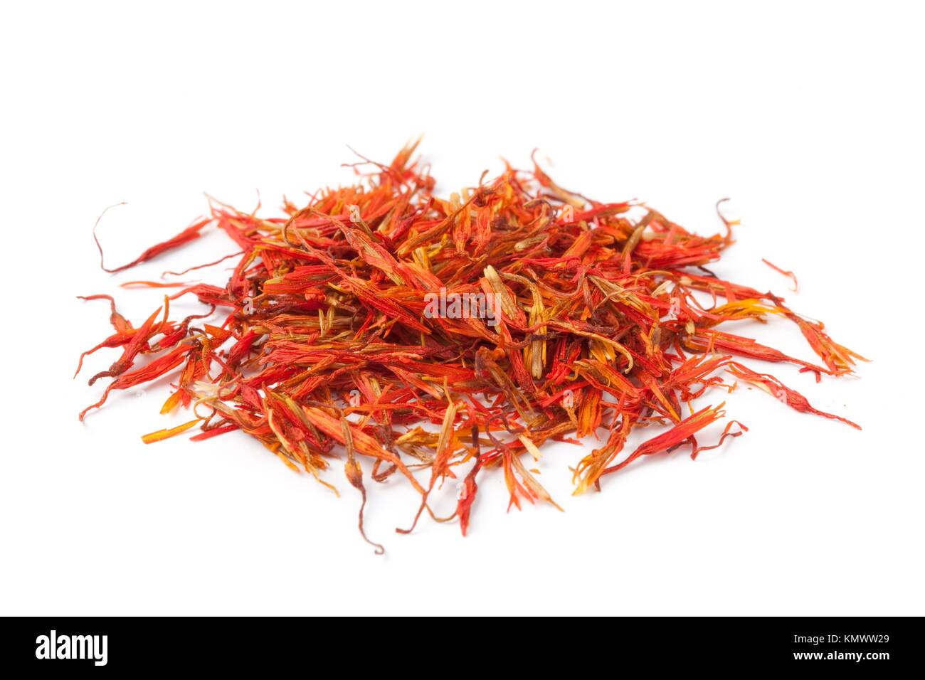 Pile of Saffron on white background - Stock Image