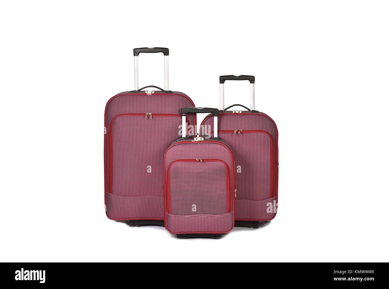 Travel suitcase isolated on white background. - Stock Image