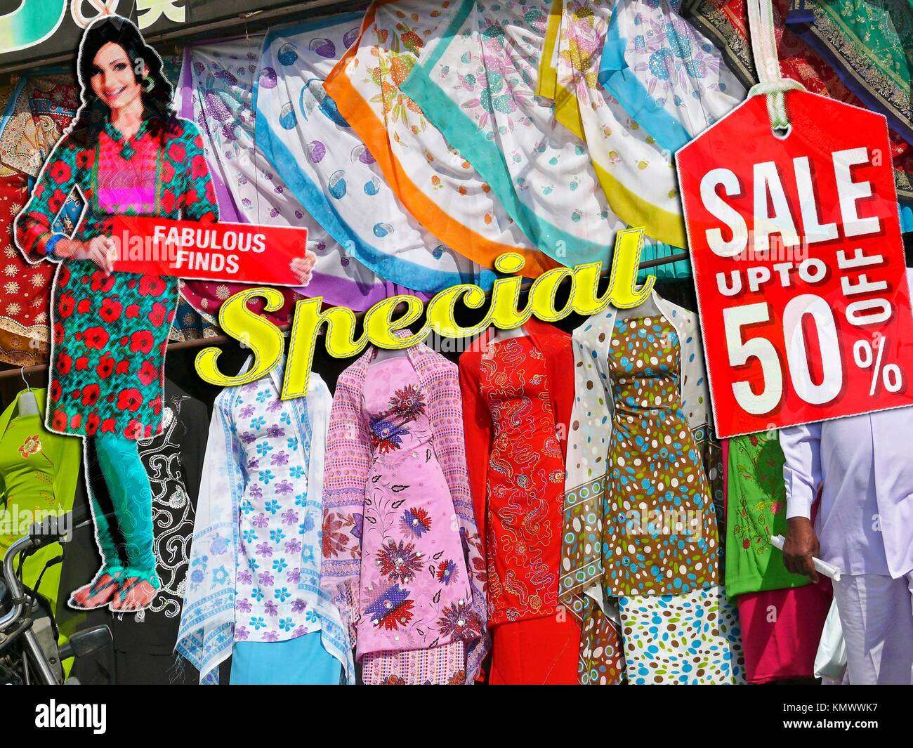 0a4100327e The Mannequins & Traditional Cloths, Punjabi dresses arranged on window  display with 50 % Discount board at a shop, India