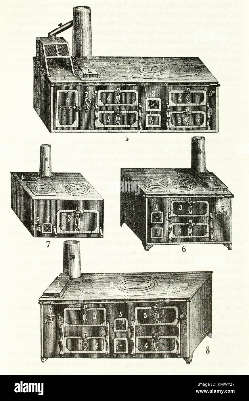 Assorted old stoves Antique illustration 1892 - Stock Image
