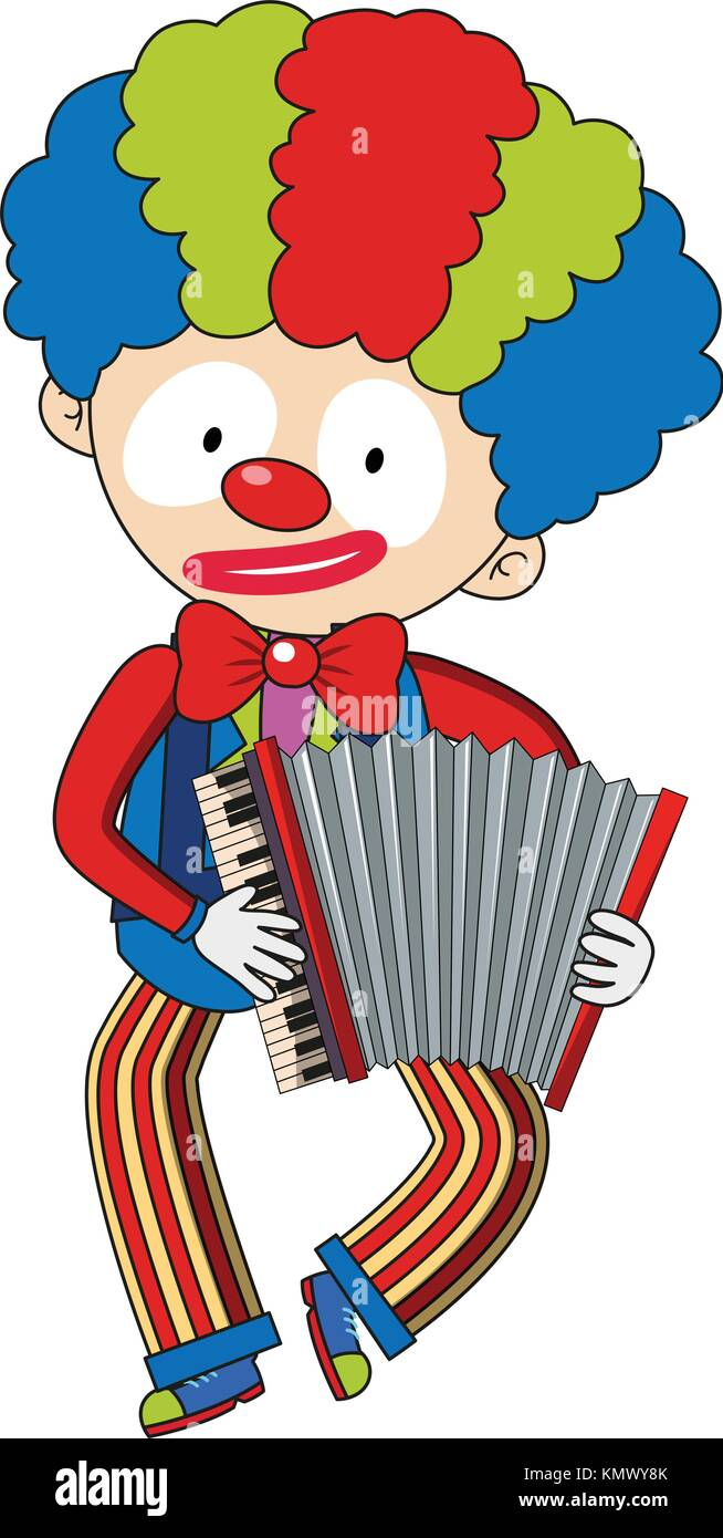 Happy clown playing accordion illustration - Stock Vector
