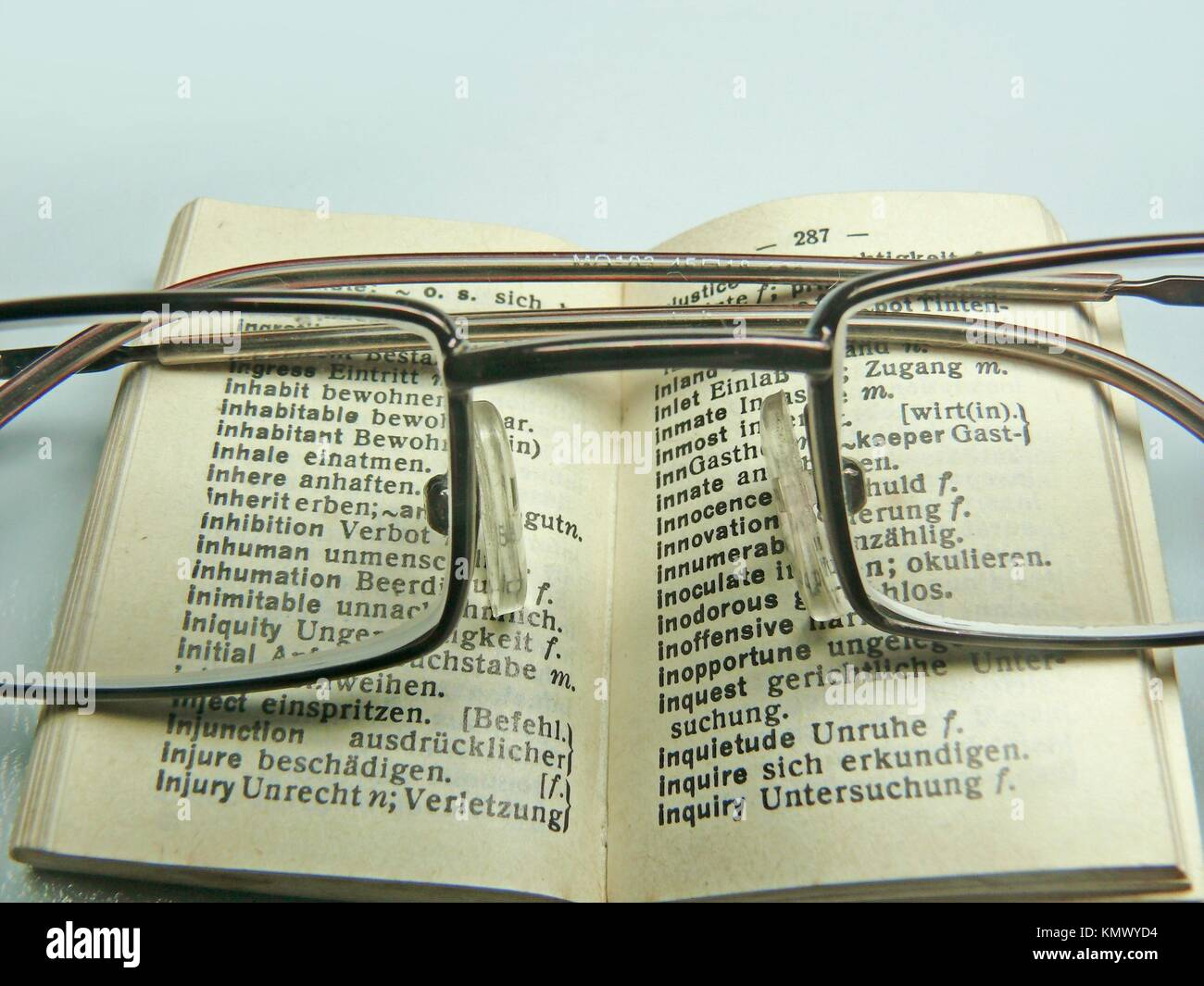 Spectacles on an opened dictionary - Stock Image
