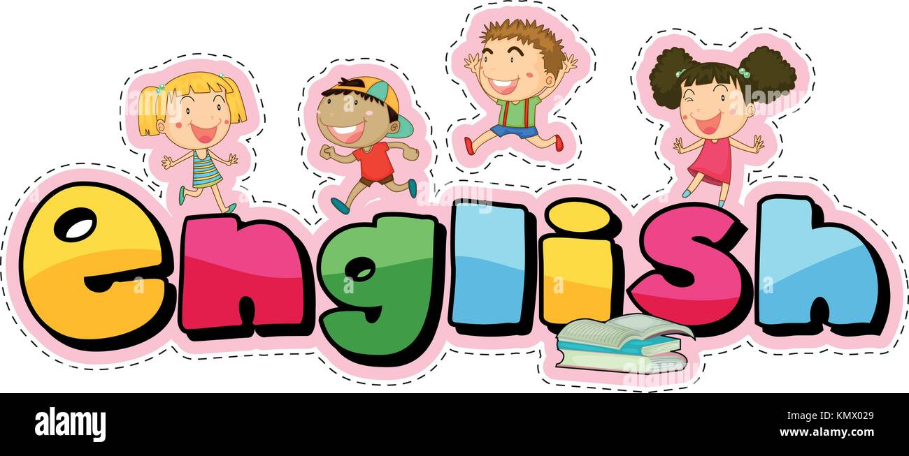Word design for english with happy kids illustration Stock ...