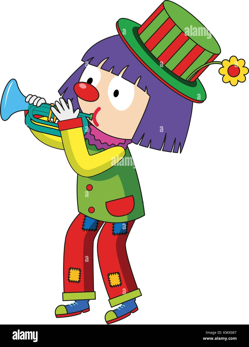 Happy clown blowing trumpet illustration - Stock Vector