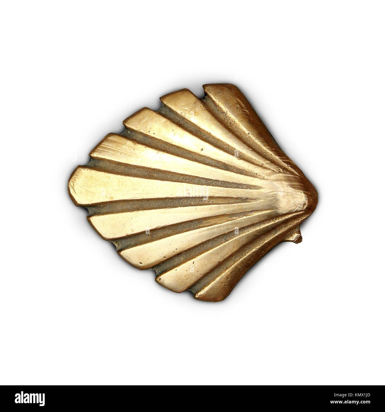 Way of Saint James symbol shell golden metal isolated - Stock Image