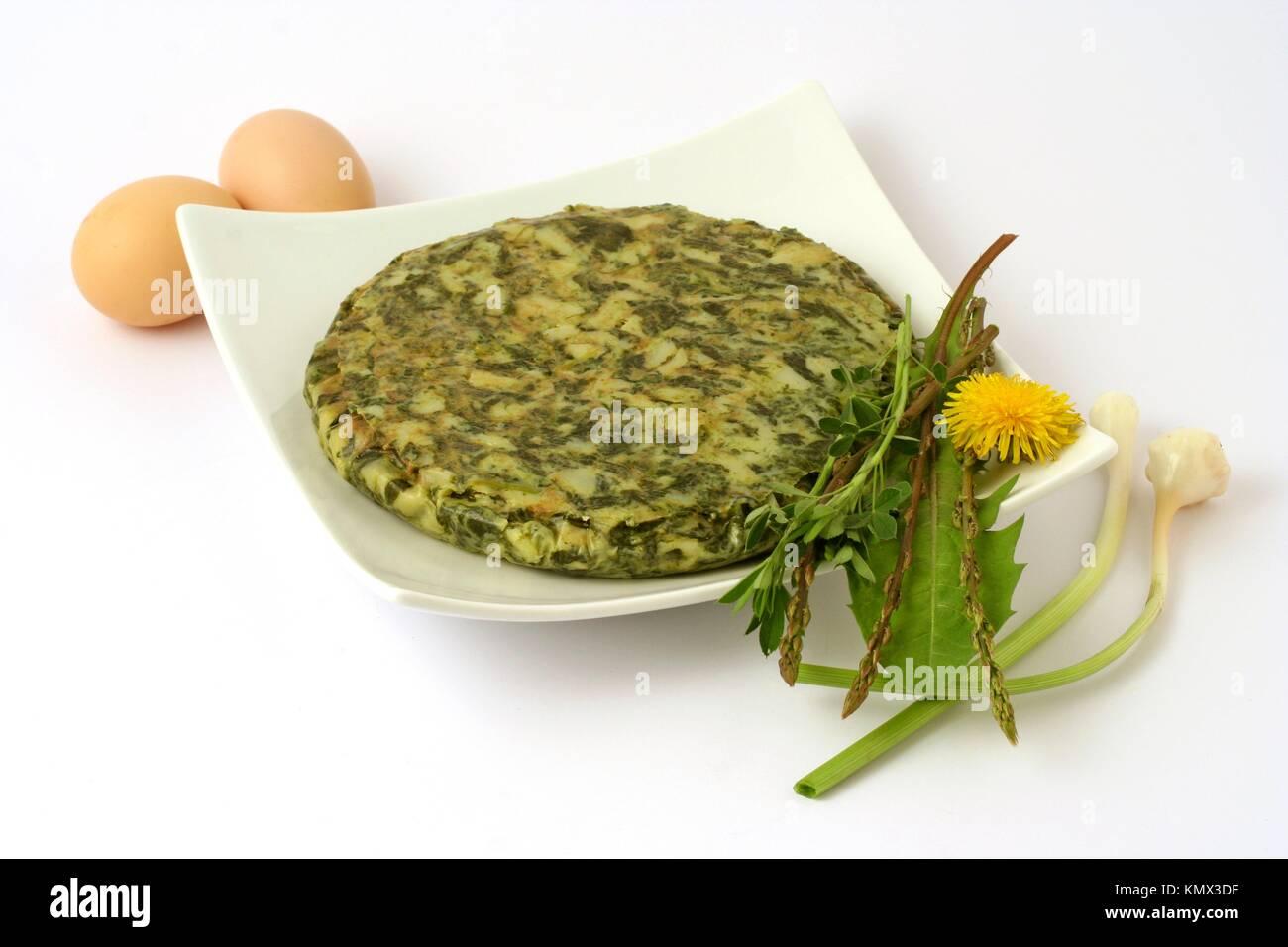 Wild vegetables omelet - Stock Image