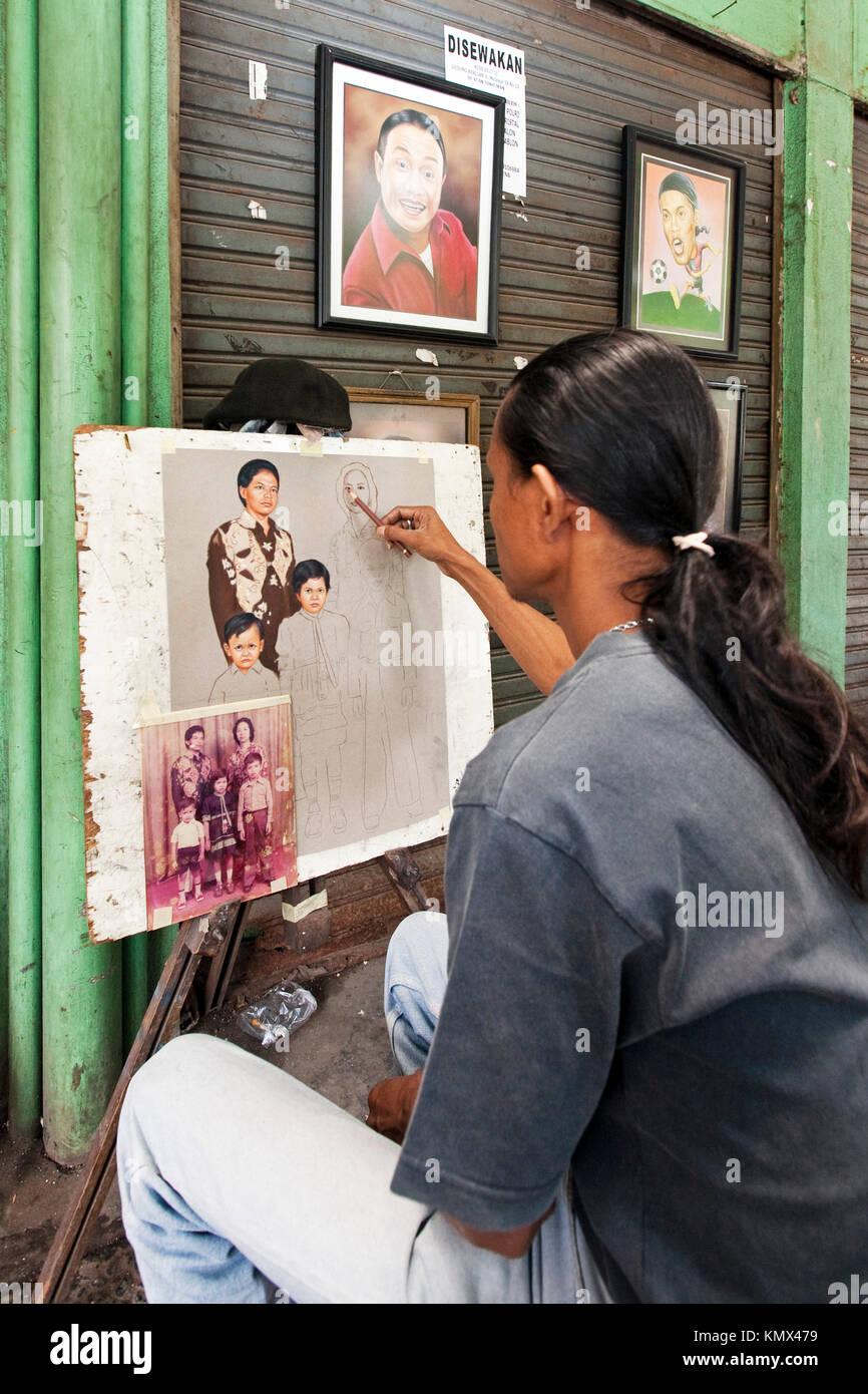 Artist, Jakarta, Indonesia - Stock Image