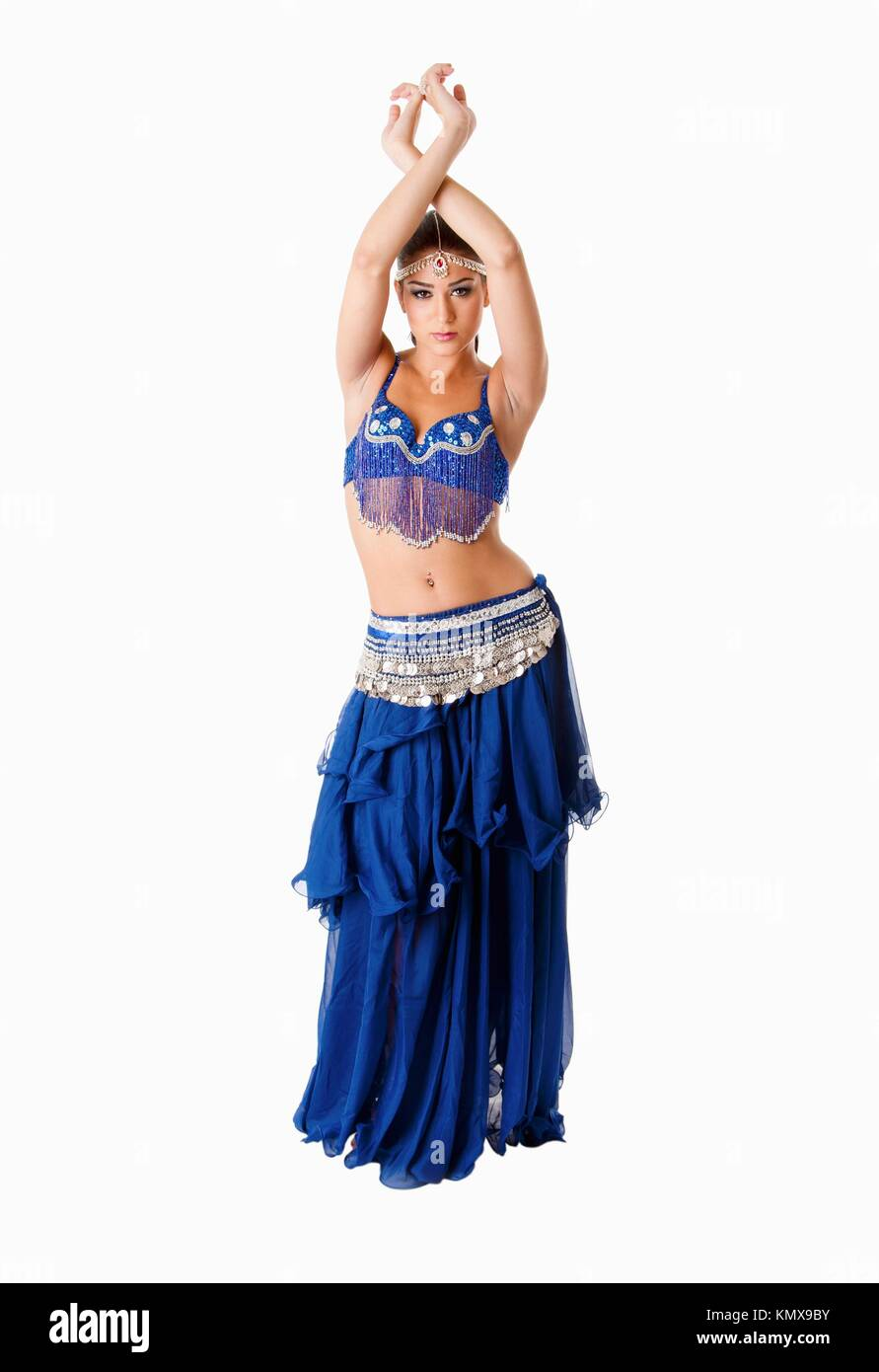 Beautiful Arabic belly dancer harem woman in blue with silver dress and  head jewelry with gem