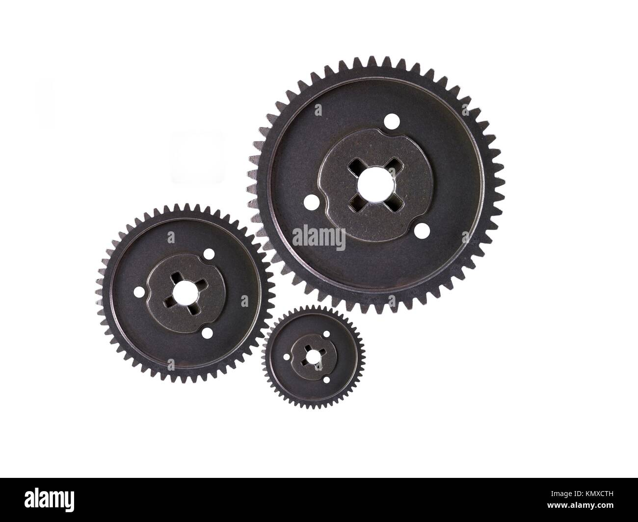 Metal gears isolated against a white background - Stock Image