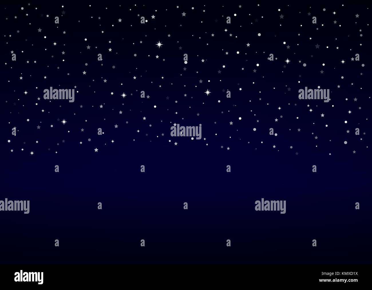 Vector night sky, snow, stars | Christmas winter background with copy space. - Stock Vector