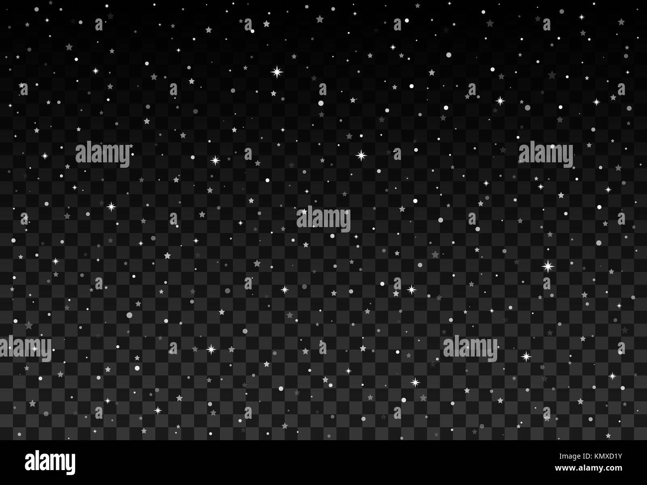 Vector starry sky, snow particles on transparent background. - Stock Vector