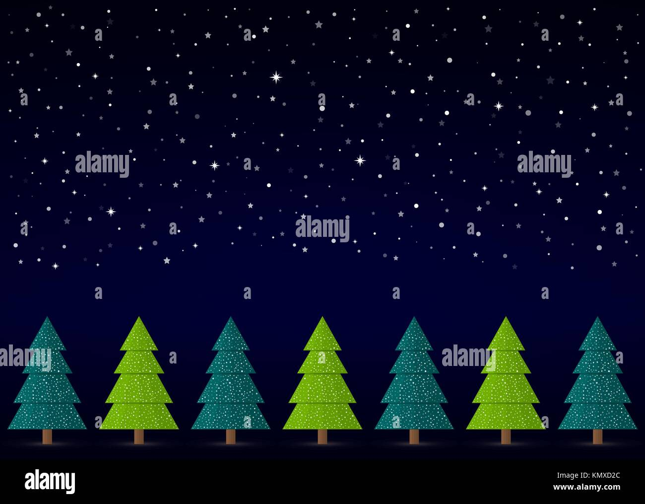 Vector Christmas Winter Background. Night sky, snow, stars with abstract conifers with snow in a row. - Stock Vector