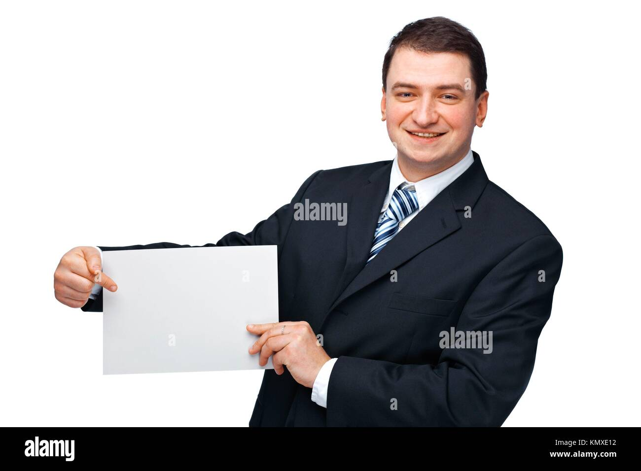 A successful happy business executive holding an empty billboard - Stock Image