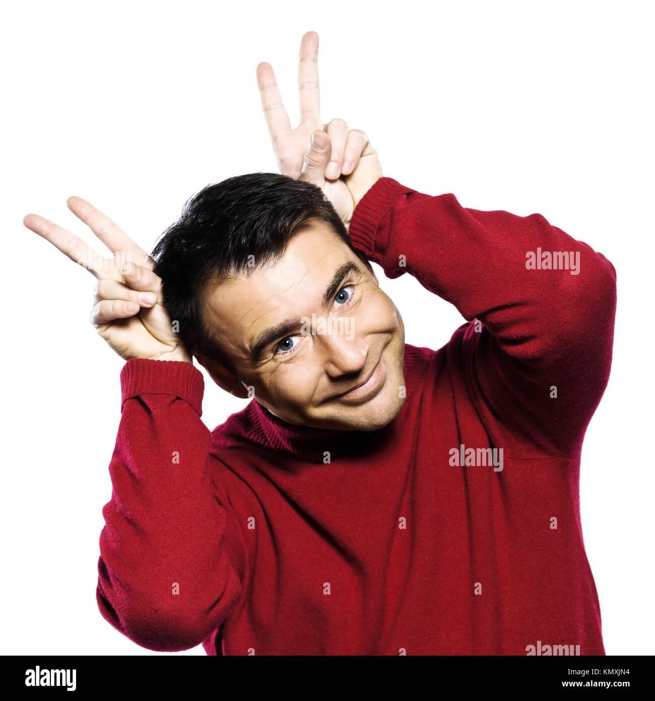 caucasian man gesture studio portrait on isolated white backgound Stock Photo