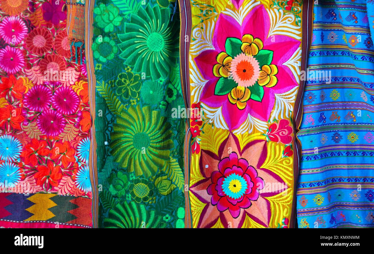 Mexican Colorful Serape Traditional Embroidery Fabrics