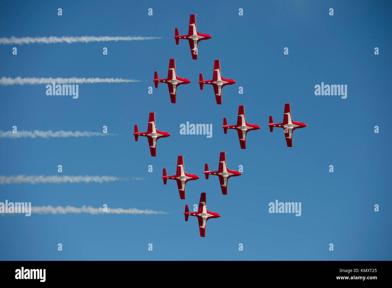 Royal Canadian Snowbirds flying in the 'Silver Dart' formation at the 'Gowen Thunder 2017 Airshow' - Stock Image