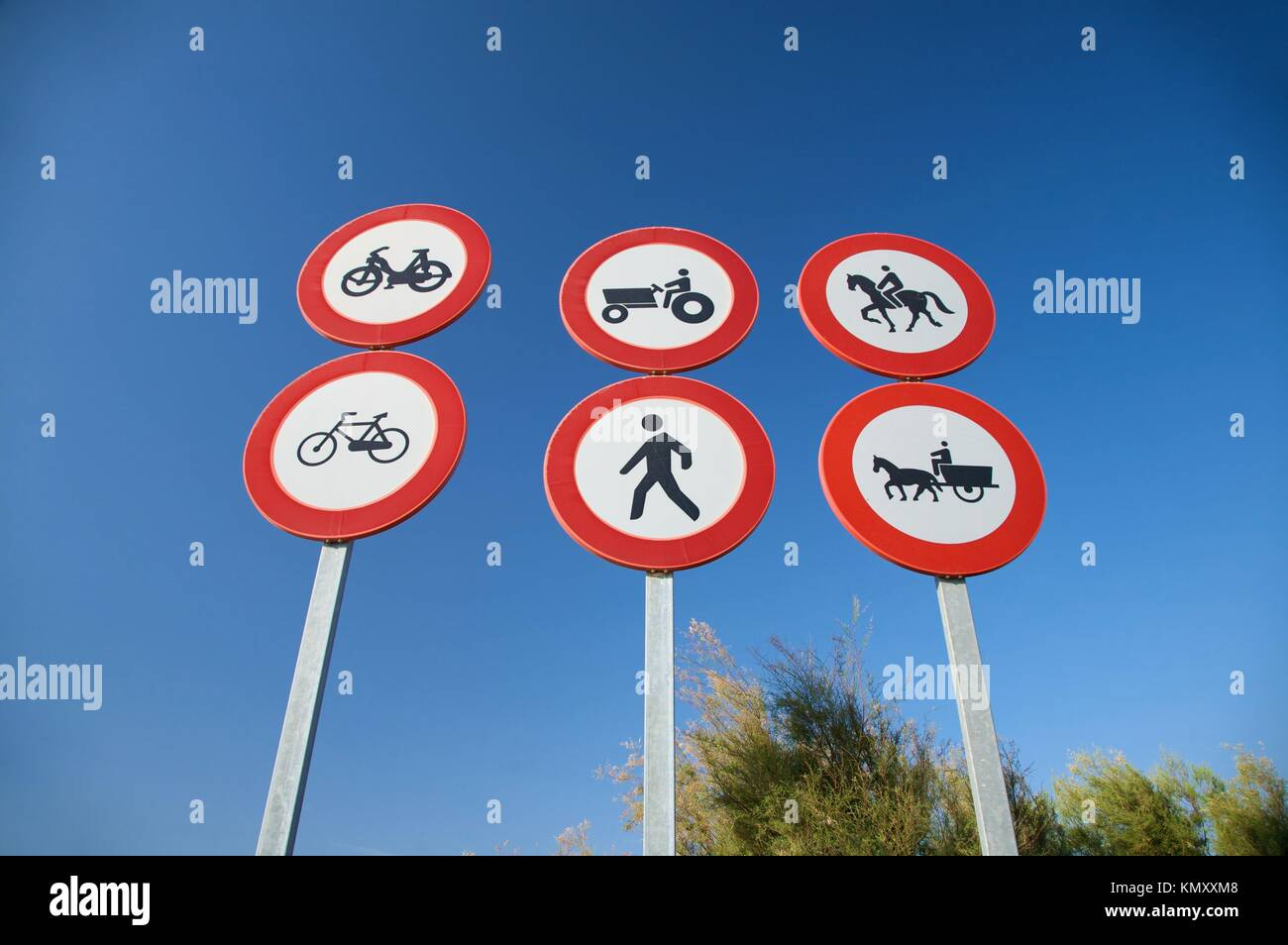 group of highway access prohibit signals in spain - Stock Image