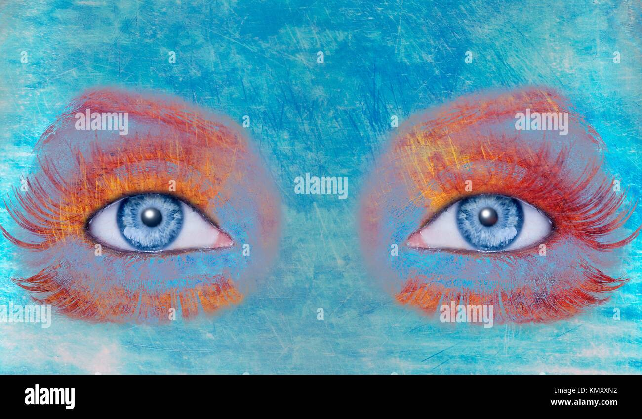 Abstract Blue Eyes Makeup Woman Grunge Painted Wall Texture
