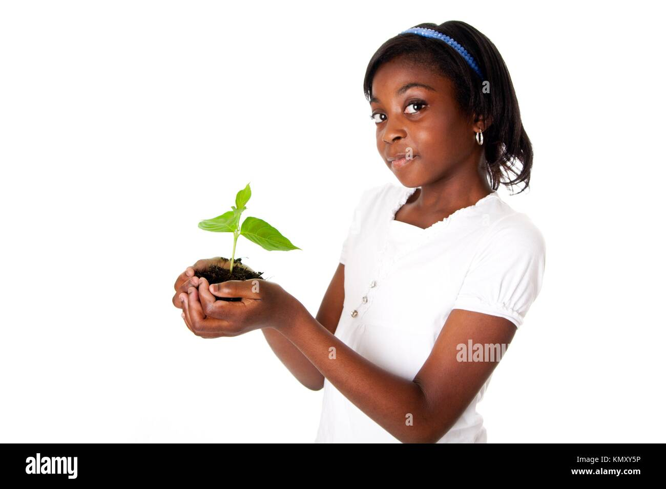 A young new plant growing from palm in hands of beautiful African girl, isolated  Drought on Earth concept - Stock Image