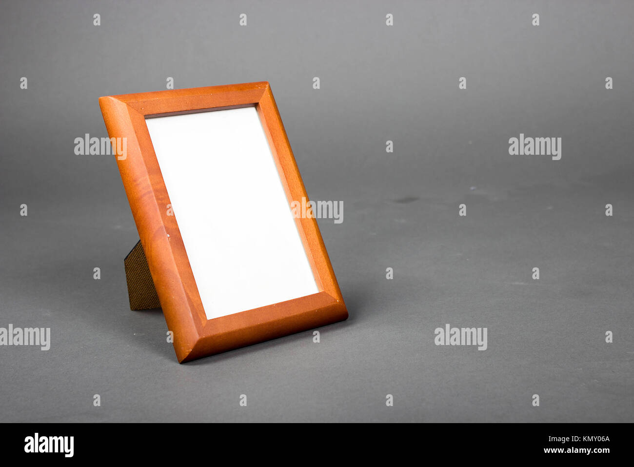 Rectangle Empty Picture Frame With Wood Frame On Gray