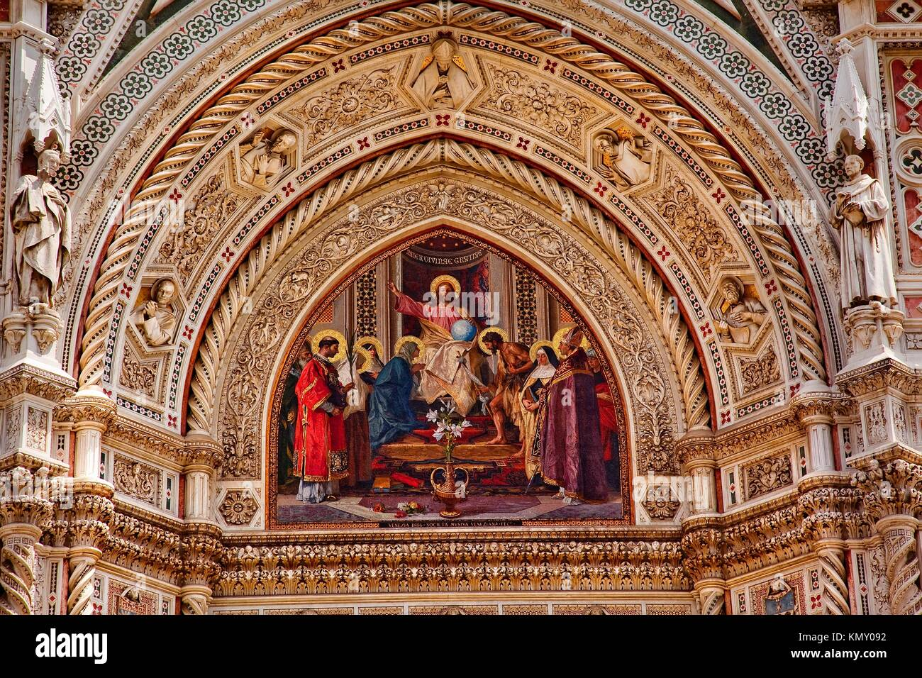 Jesus Mosaic Facade Statues, Duomo Basilica Cathedral Church Florence Italy - Stock Image