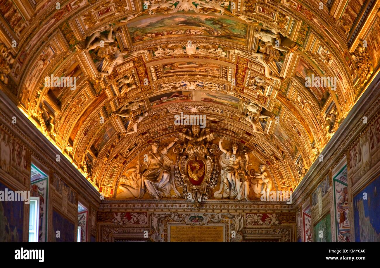 Vatican Museum Inside Ornate Ceiling Map Room Details Symbol of Papacy Peter´s Keys of Heaven - Stock Image