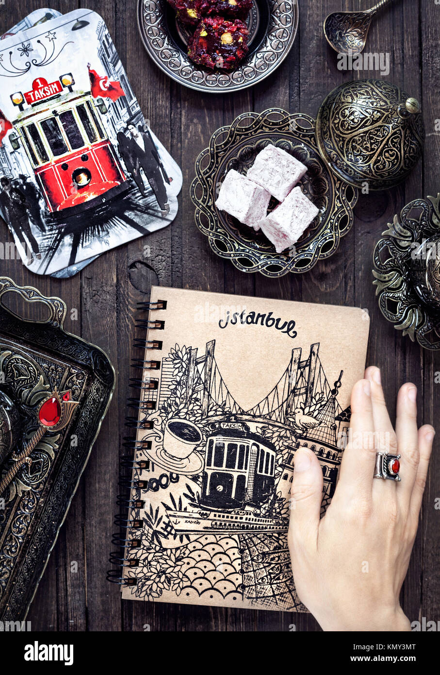ISTANBUL, TURKEY – JUNE 8, 2016: Illustrative editorial photo with Turkish delights rakhat lokum, cards with old - Stock Image