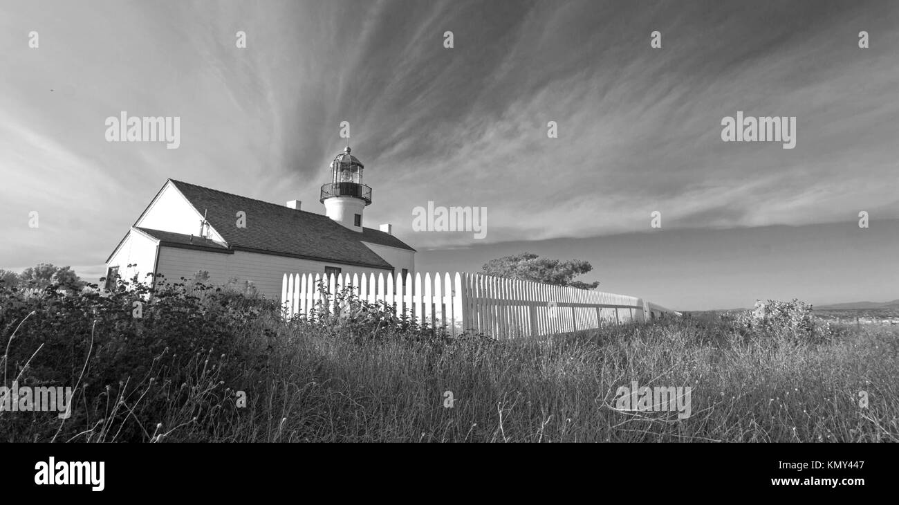 OLD POINT LOMA LIGHTHOUSE AT POINT LOMA PENINSULA IN SAN DIEGO IN SOUTHERN CALIFORNIA UNITED STATES - BLACK AND - Stock Image