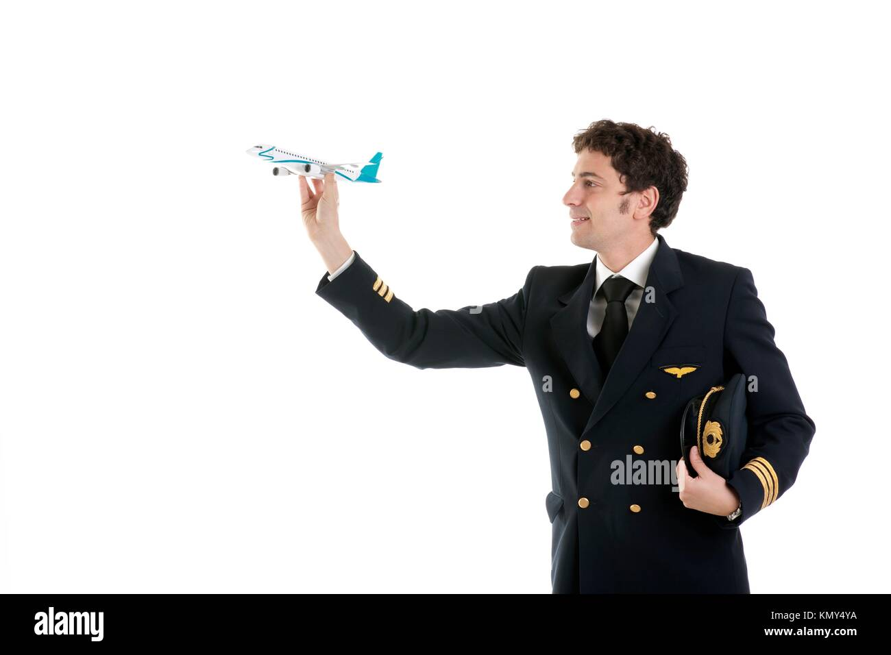 Airline Pilot/Captain with airplane model - Stock Image