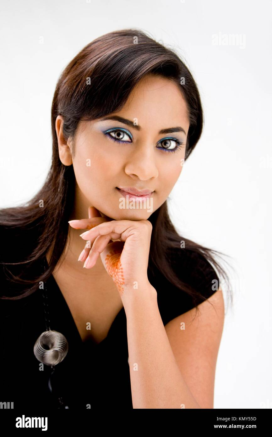 Face of a beautiful Hindi woman with subtle blue eye makeup