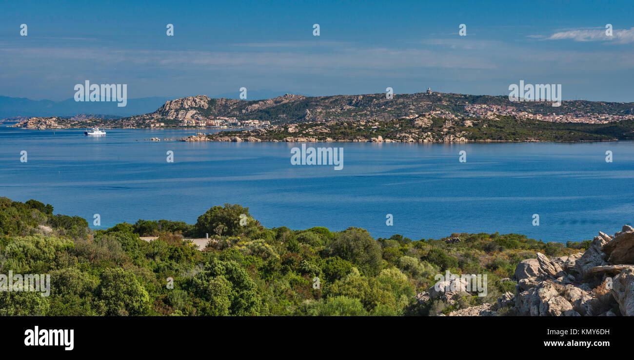 Isola Santo Stefano, Isola Maddalena behind, ferry on way from Palau to Maddalena, view from Via Capo d'Orso near Stock Photo
