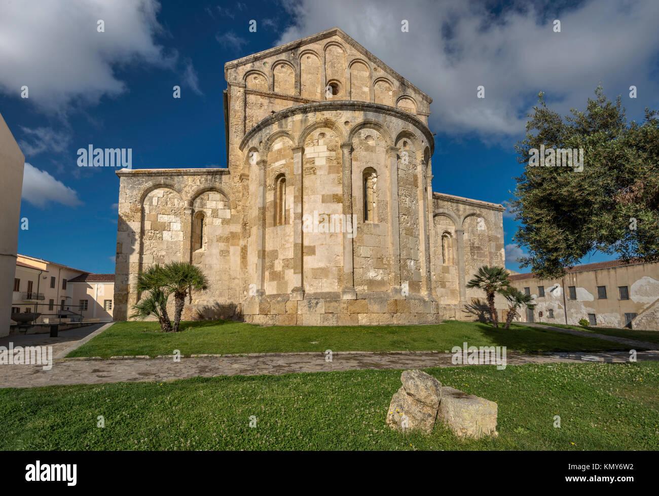 Apse at northeastern end of Basilica Romanica di San Gavino, 1080, Romanesque style church in Porto Torres, Sassari - Stock Image